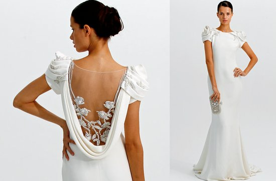 Marchesa wedding dress, 2012 with rose-embellished cap sleeves