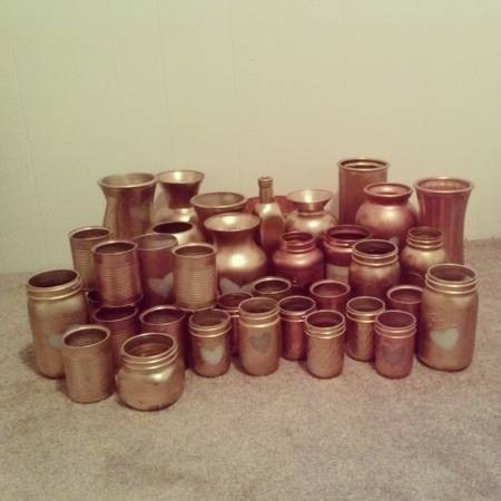 Gold and Copper Centerpiece Vases