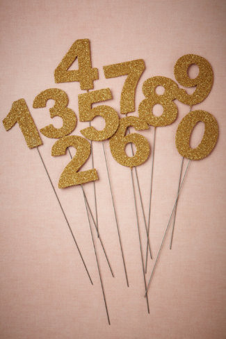 Goldtone Wedding Table Number Stakes
