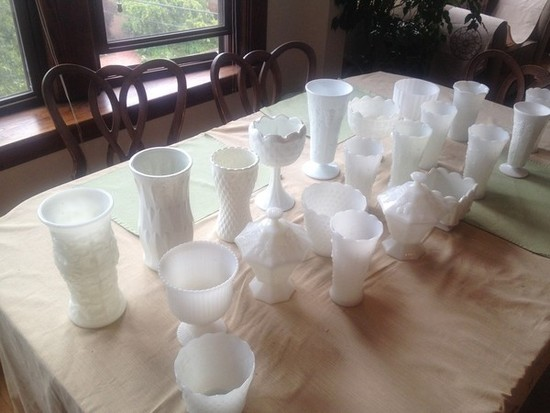 photo of Medium and Large Milk Glass Vases