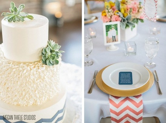 photo of Coral and White Chevron Napkins