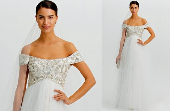 Marchesa wedding dress, 2012 with off-the-shoulder embellished cap sleeves