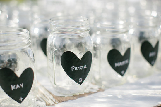 photo of Chalkboard Heart-Adorned Mason Jars