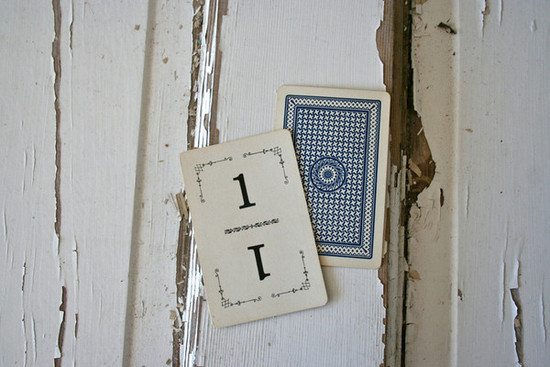 Vintage Playing Card Table Numbers