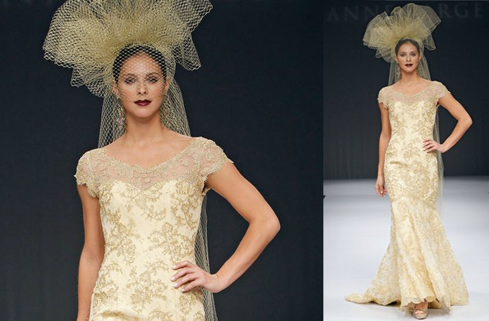 Gold cap sleeved wedding dress by Anne Barge