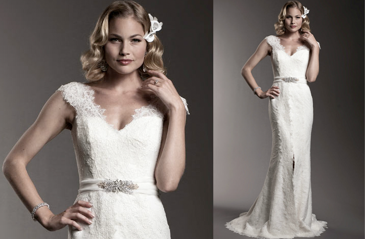 amy kuschel wedding dress lace cap sleeves 2012 brdal
