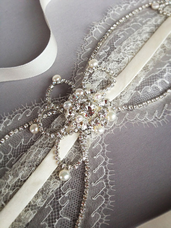 Chantilly lace pearl and crystal wedding headband