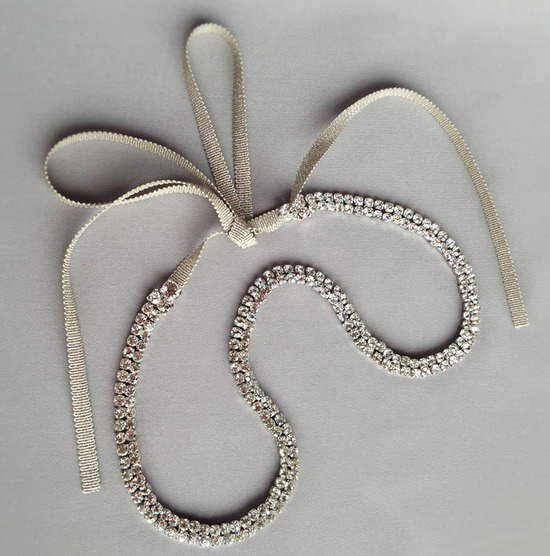 Double strand crystal wedding headband with champagne ribbon tie