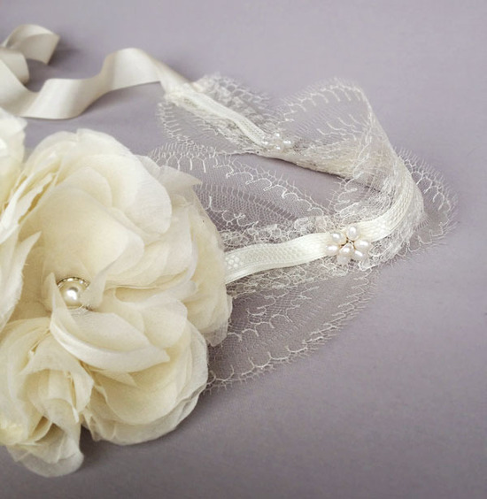 photo of Ivory lace wedding headband with silk flowers