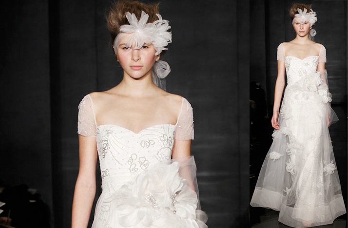 Cap sleeves wedding dresses, 2012- Reem Acra, sweetheart neckline, romantic embellishments