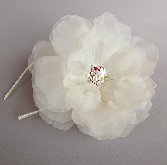 Oversized ivory hair flower with crystal detail wedding headband