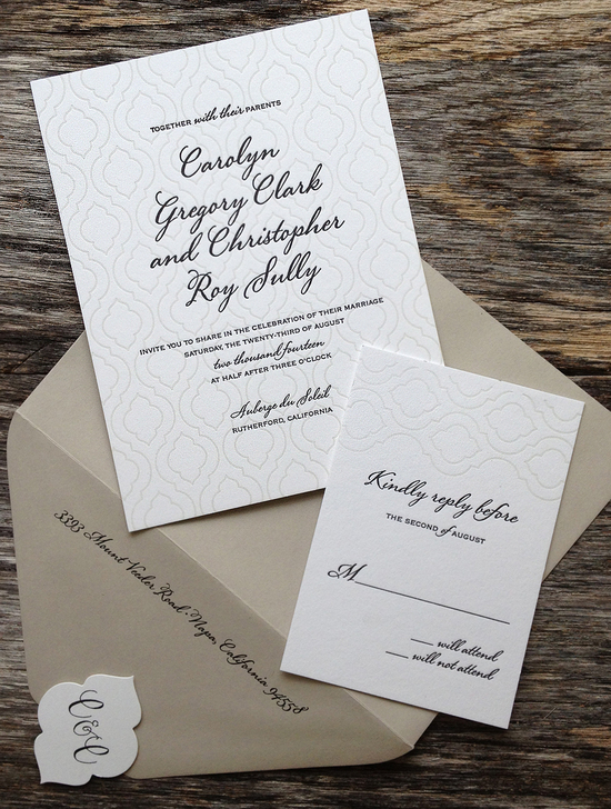 Letterpress stationary