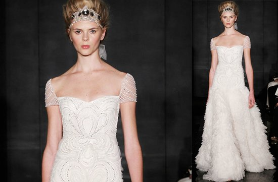 Cap sleeves wedding dresses, 2012- Reem Acra, sheer beaded sleeves, a-line silhouette