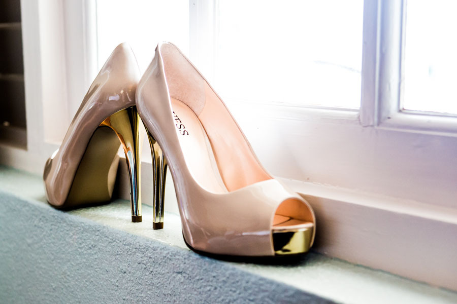 Peach patent leather wedding shoes with gold soles