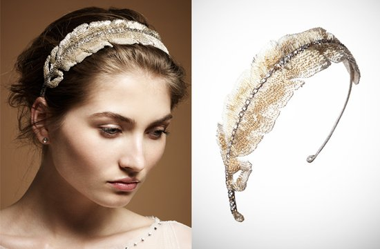 Gold feather bridal headband by Jenny packham