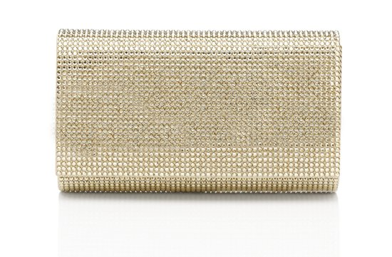 Gold crystal wedding clutch by Judith Lieber