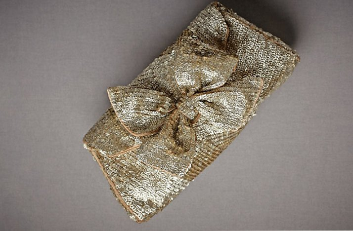 Gold sparkly bridal clutch by BHLDN