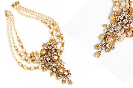 Gold wedding jewelry- pearl and gold antique-inspired bridal necklace
