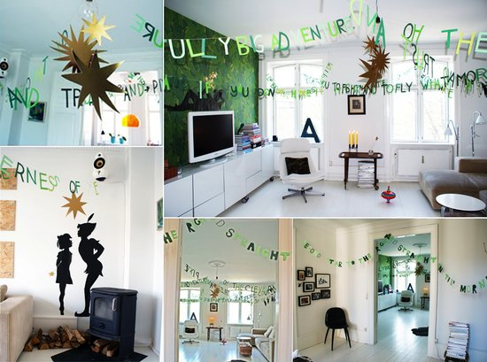 Whimsical green text garland for your wedding reception