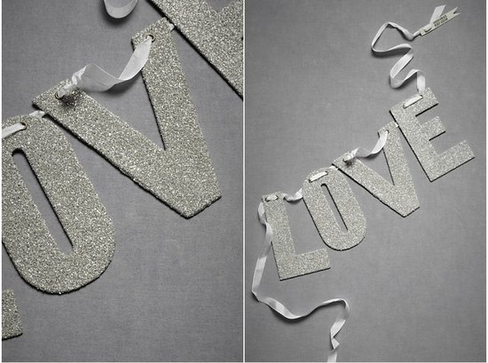 BHLDN wedding reception decor- sparkly silver text garland