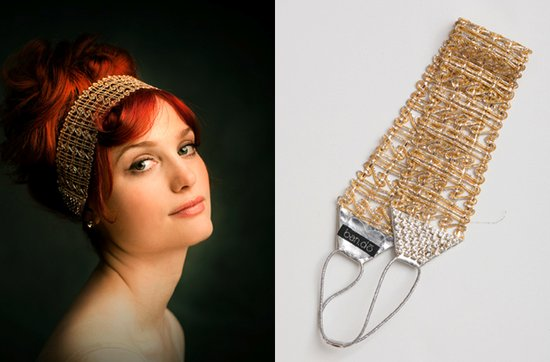 Gold wedding jewelry- vintage-inspired bridal headwrap