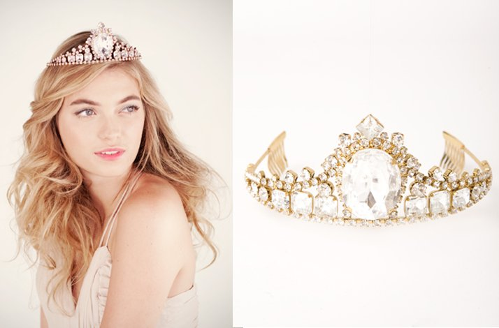 Gold wedding jewelry- crystal bridal tiara