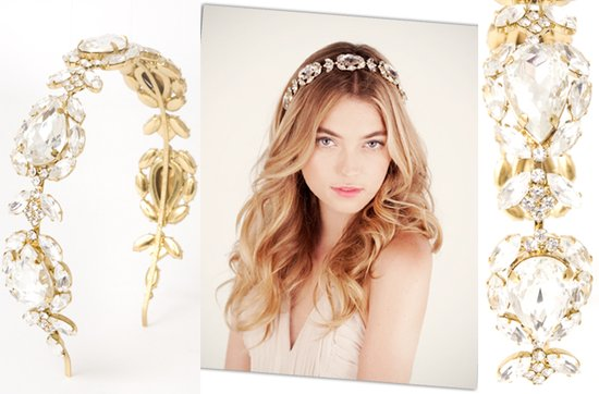 gold wedding jewelry- elegant gold and crystal bridal headband