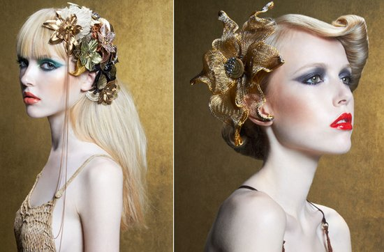Gold wedding jewelry- haute couture bridal headpieces by Colette Malouf
