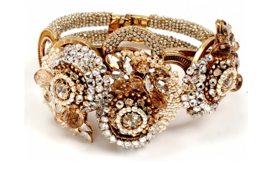 Gold wedding jewelry- chunky bridal bracelet by Miriam Haskell
