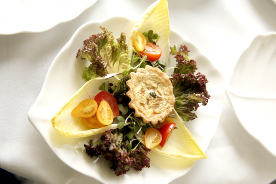 Teardrop Tomato and Endive Salad with a Warm Caramelized Onion and Goat Cheese Tartlet