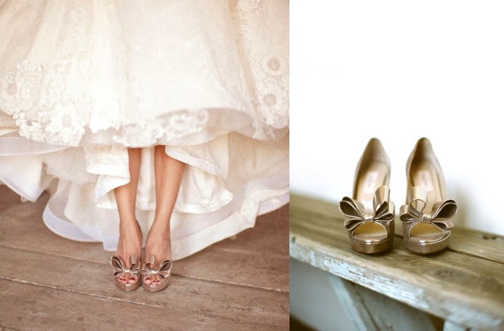 gold bow wedding shoes