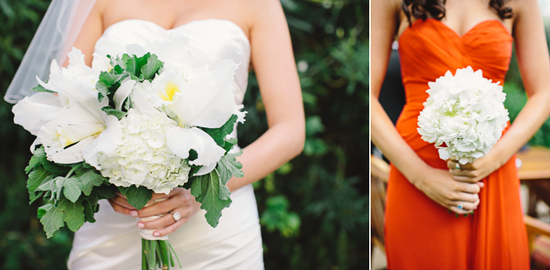 photo of Whimsical white and green wedding bouquets deep orange bridesmaid dress