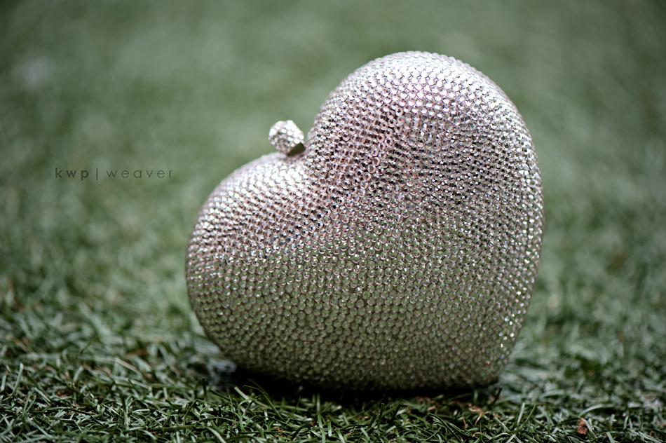 sparkly heart shaped bridal purse
