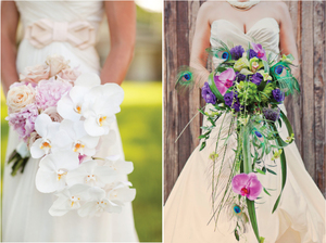 photo of cascade wedding bouquet belle the magazine peacock feathers