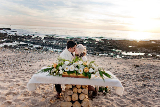 photo of Winter Wedding Elopement on the Beach