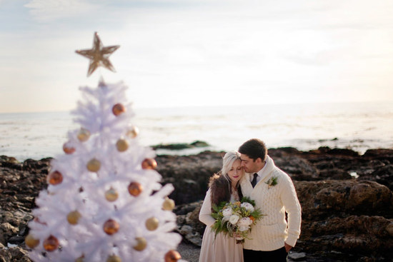 winter wedding california elopement white christmas tree