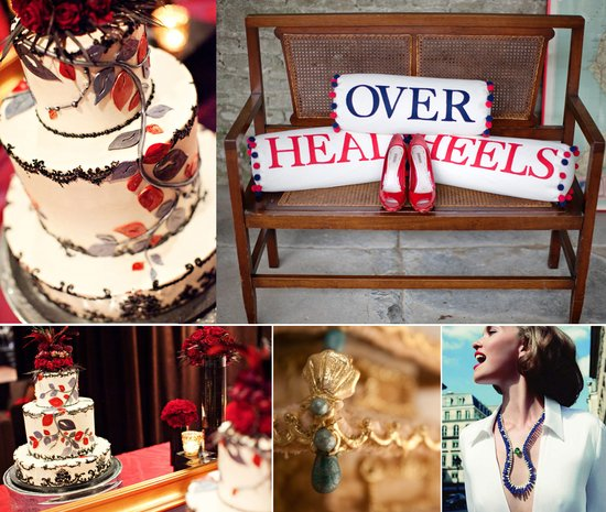 jewel toned wedding cake reception decor bridal jewelry