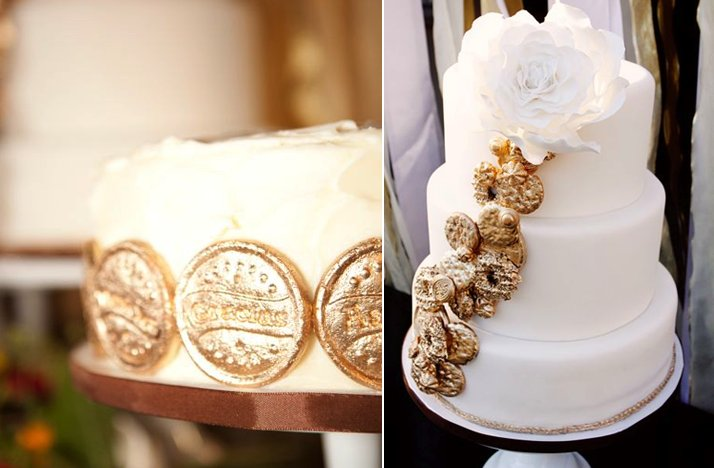 white gold wedding cake