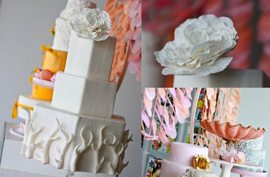 white pink modern wedding cakes