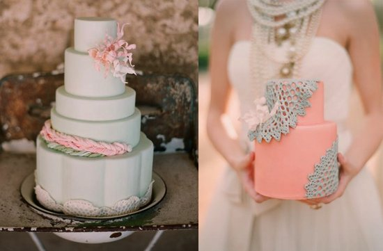 sage green pink wedding cake