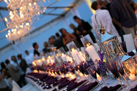 Elegant hamptons themed wedding reception table