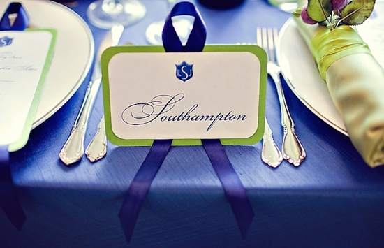 Hamptons wedding escort cards in ivory green and navy