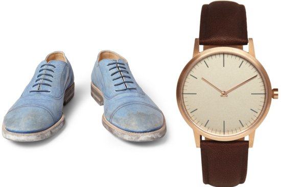 Hamptons grooms style shoes and watch