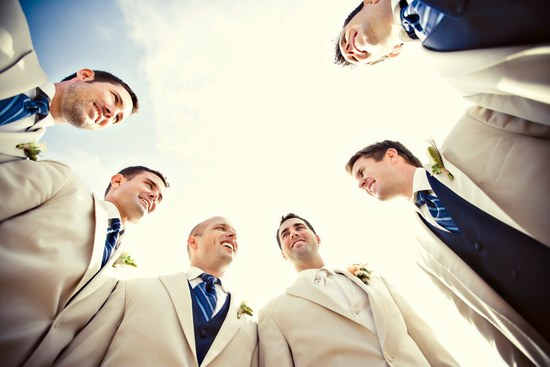 Navy ivory and aqua Hamptons wedding photos groomsmen