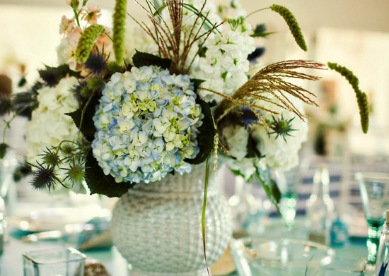 Navy ivory and aqua Hamptons wedding photos beachy centerpiece