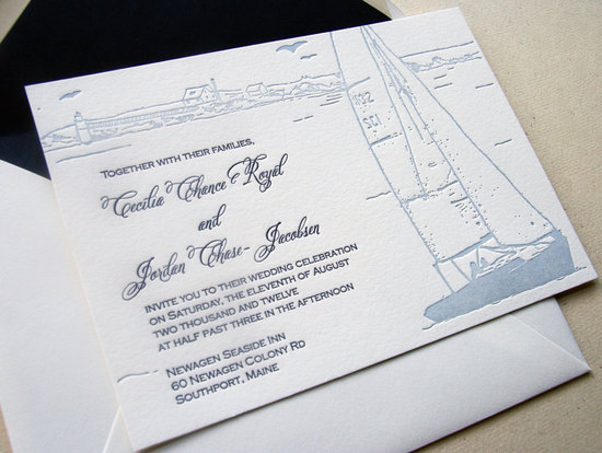 Hamptons sailboat letterpress wedding invitations