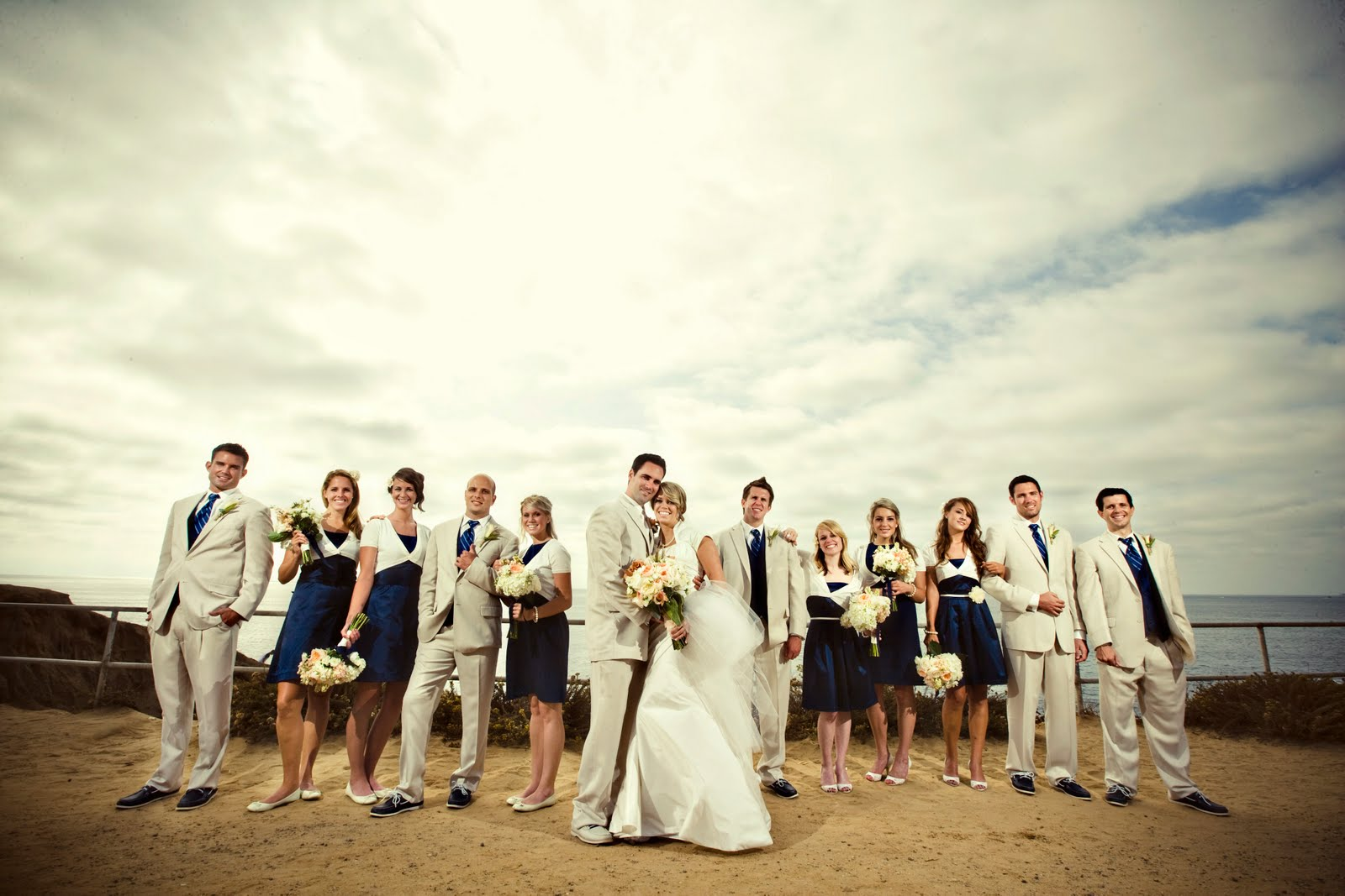 Navy Ivory And Aqua Hamptons Wedding Photos Wedding Party