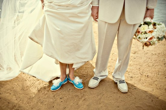Navy ivory and aqua Hamptons wedding photos bride and groom shoes