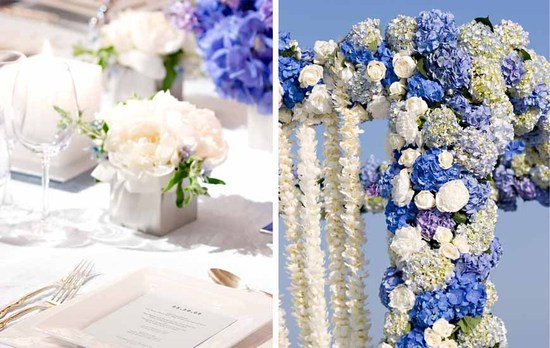 Blue and ivory floral wedding arch for Hamptons themed ceremony