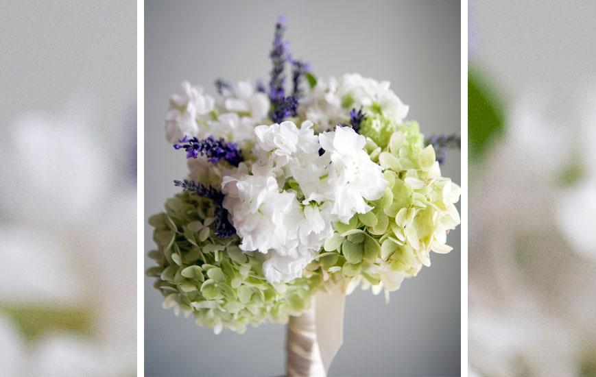 White celery purple wedding flower bouquet